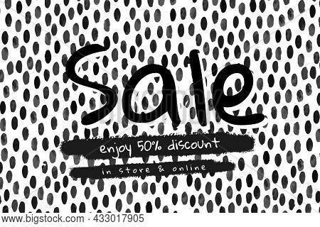 Sale social media banner on polka dot pattern background
