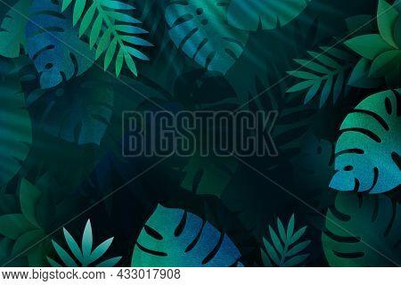Blank leafy monstera frame design