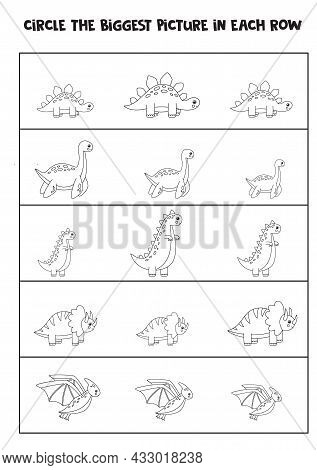 Big Or Small. Find The Biggest Dinosaur In Each Row. Black And White Worksheet.