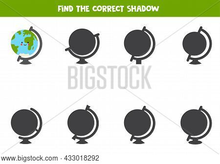 Find Right Shadow Of Globe. Educational Logical Game For Kids.