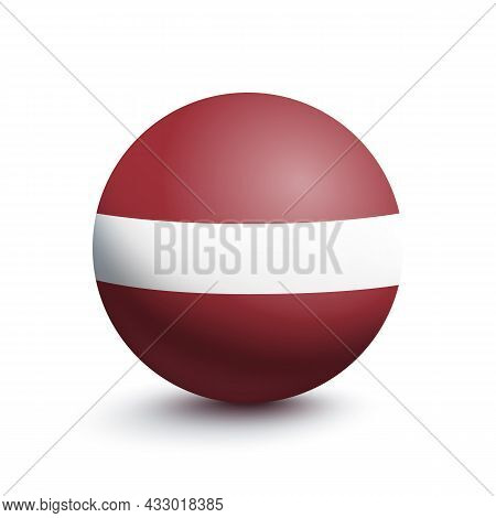 Flag Of Latvia In The Form Of A Ball