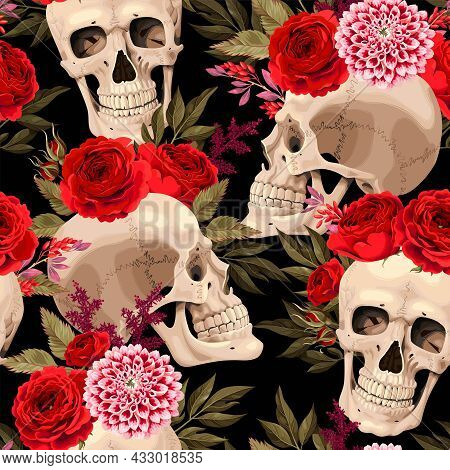 Vector Seamless Pattern With Skulls And Roses