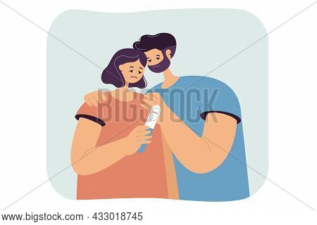 Married Couple Sad About Negative Pregnancy Test. Infertile Man And Woman Having Problem Conceiving