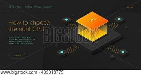 Cumputer Cpu Chip Illustration In Isometric Vector Design. Semiconductor Microchip Or Processor. Abs