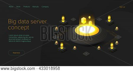 Big Data Technology In Isometric Vector Illustration. Information Storage And Analysis System. Digit
