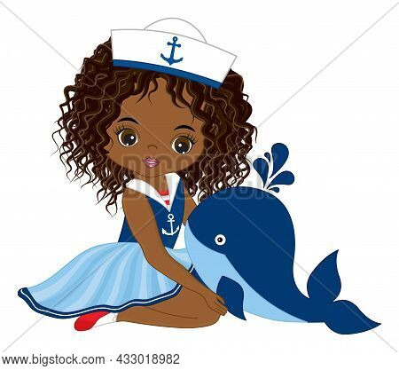 Vector Teen African American Girl Wearing Nautical Dress And Sailors Cap. Beautiful Black Girl Holdi