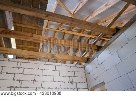 Wooden Roof Structure. New Residential Construction Of A Gas Block House. Construction Concept