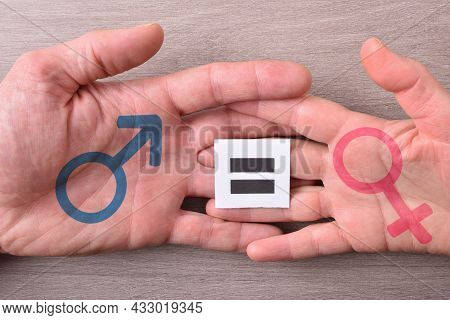 Man And Woman Hand Intertwined With Equal Sign And Sex Symbol On Wood Table. Top View.