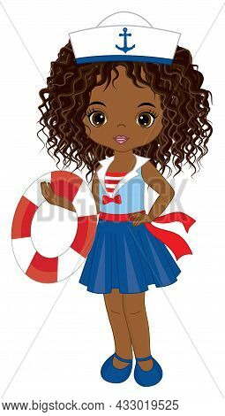 Vector Teen African American Girl Wearing Nautical Dress And Captains Cap. Beautiful Black Girl Hold