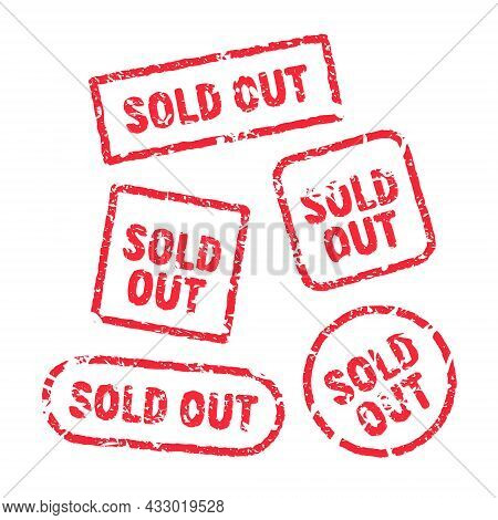 Sold Out Vector Red Stamp Grunge Sign. Sold Banner Seal Sticker Icon Label Design