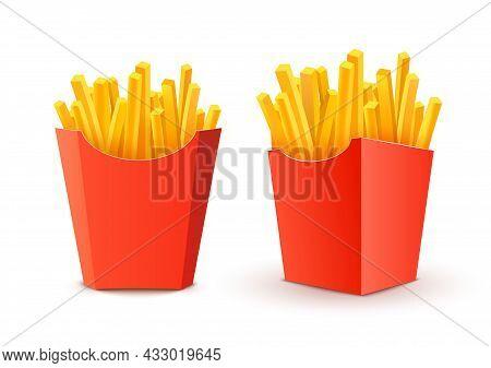 French Potato Pack Box. Cartoon Fastfood Fry Potato Isolated Illustration Fast Food