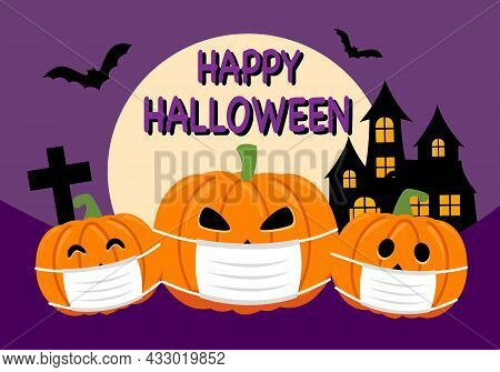 Pumpkin Wearing Medical Mask With Castle, Bats And The Moon In Flat Design. Happy Halloween Festival