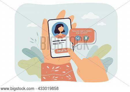 Hands Of Female Social Network User Deleting Account. Woman Pressing Delete Button On Phone, Removin