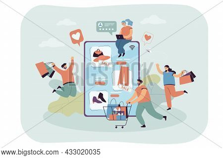 Group Of Shopaholics With Shopping Cart And Bags. Internet Store On Tablet, Customers With Purchases