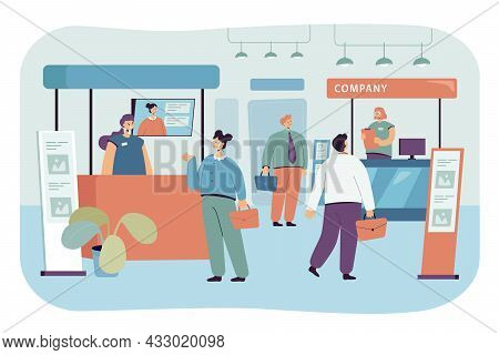 Visitors Coming To Exhibition In Business Center. Men And Women At Trade Show Flat Vector Illustrati