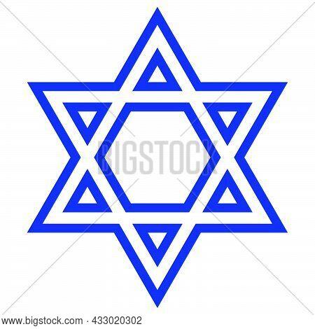 Star Of David. Shield Of David. Outline Jewish Star. Israel Emblem.