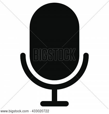 Mic Icon. Microphone Symbol. Audio Pictogram. Music Symbol In Black