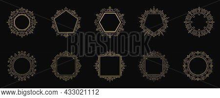 Vintage Flourishes Ornament Frames Set Vector Illustration