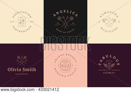 Feminine Logos Emblems Design Templates Set With Female Hands Gestures Vector Illustrations Minimal