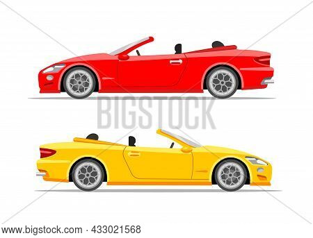 Modern Sports Cars. Coupe. Red And Yellow. Vector Flat Illustration