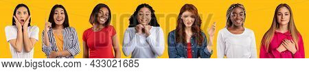 Multiracial Ladies Gesturing And Grimacing On Yellow, Collage