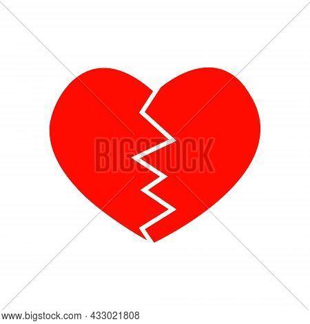 Red Broken Heart Pictogram. Symbol Of Infarct, Heartache, Heartbreak, Divorce, Parting Isolated On W