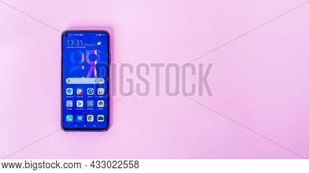 Bangkok, Thailand - September 6, 2021: Retail Display Of New Huawei Nova 5t Smartphone, With 6.26-in