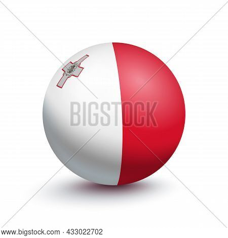Flag Of Malta In The Form Of A Ball