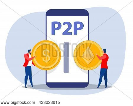 Business Exchange Money To Peer To Peer Payments. Cryptocurrency Virtual Transaction. Vector Illustr