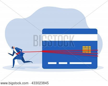 Businessman Tied To A Huge Weight Of Debt Credit.  Financial Problem Concept  Vector Illustration