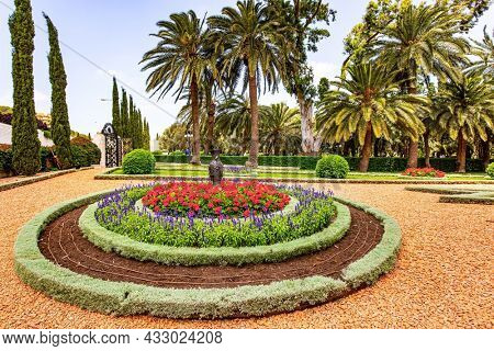 Luxurious flower bed with bright red flowers in a picturesque small square. Bahai World Center. Pilgrimage center and popular tourist destination. The slope of Mount Carmel. Haifa, Israel.