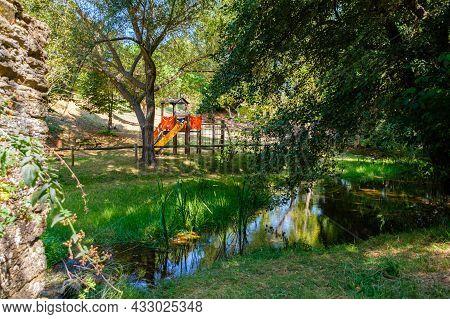 Macedo De Cavaleiros, Portugal - August 28, 2021 : Vale Da Porca Picnic Park On The Banks Of The Azi