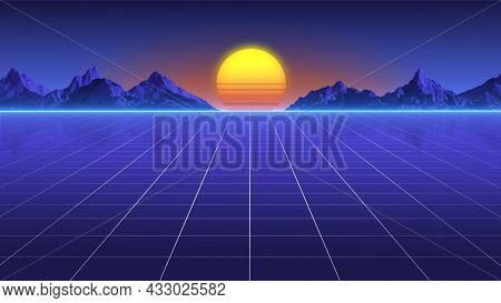Retro Sci-Fi Background. Digital Cyber Surface Concept. 3d rendering of futuristic landscape grid. 80`s retro style.
