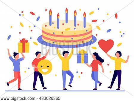 Birthday Cake, Gift Box And Greeting Of Group Happy People On Celebration Party. Men And Women Givin