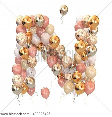 Letter N from balloons isolated on white. Text letter for holiday, birthday, celebration. 3d illustration