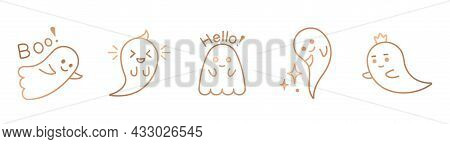 Halloween Ghost Line Art. Vector Cute Ghost Clipart