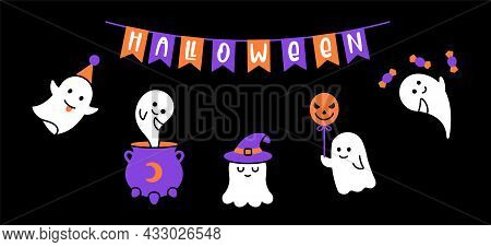 Halloween Banner Rwith Ghost. Vector Cute Ghost Clip Art
