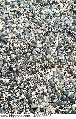 Sea Pebbles Background. Texture Of Gray Sea Stones