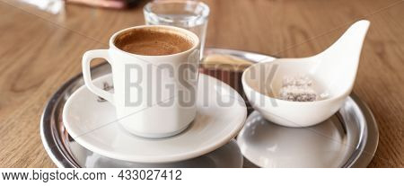 Traditional Turkish Coffee With Cold Water And Turkish Delight. Selective Focus - Image