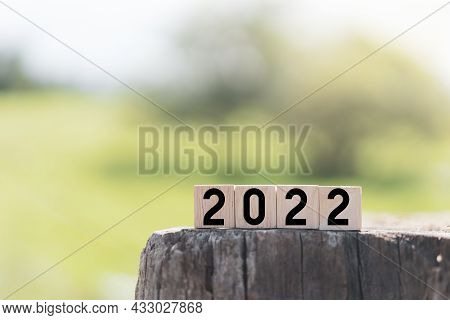 2022 Number On Wooden Cube At Blue Nature Park Outdoor Abstract Background. Happy New Year And Trave