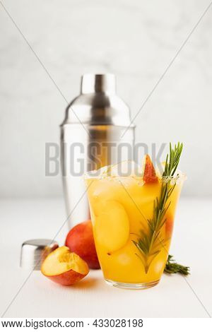 Cooking Of Refreshing Juicy Peach Cocktail With Ice, Rosemary, Sugar Rim In Misted Glass, Ingredient