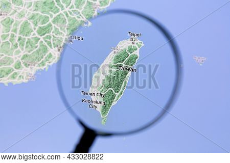 Ostersund, Sweden - Sep 14, 2021: Taiwan on Google Maps under a magnifying glass.. Taiwan is a country in East Asia..