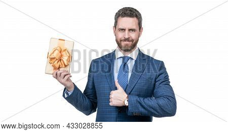 Smiling Businessman Man In Suit Hold Present Box Show Thumb Up Isolated On White, Best Present