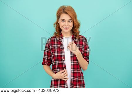 Female Model Casual Trend. Portrait Look Of Young Girl. Red Haired Woman. Happy Redhead Woman