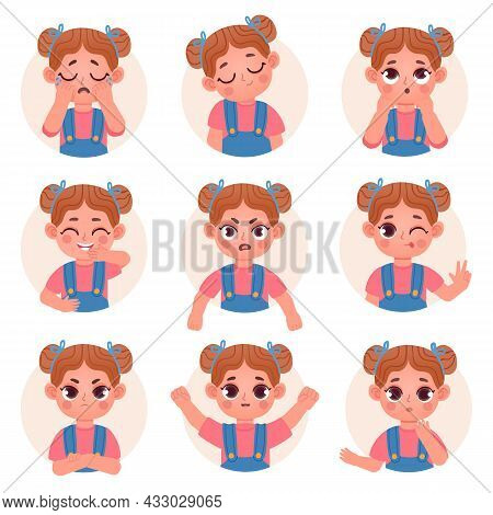 Cute Child Girl Avatar Facial Emotions And Feelings. Little Kid Face Emoji With Angry, Sad, Happy, S