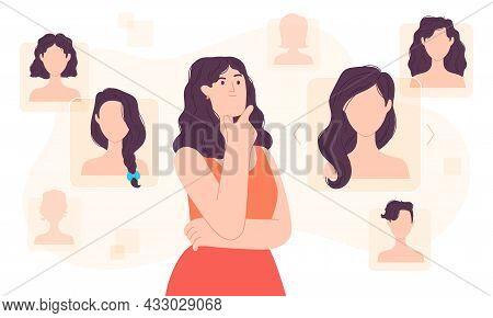 Flat Woman Choose Hair Style In Digital Space. Stylist Decision Haircut App. Girl Hairstyle Choice O