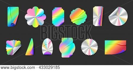 Wrinkled Hologram Label Stickers With Folds And Peel Edges. Square, Round And Star Holographic Metal