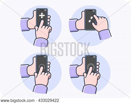 Hand Gestures Using A Smartphone Swipe Left-right, Top-bottom, Zoom In-zoom Out, One Tap, Double Tap