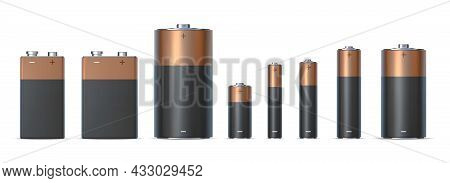 Realistic Alkaline Battery Sizes Aa, Aaa And D. Batteries Types. Chemical Electric Power Source In M