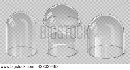 Realistic Transparent Glass Dome Spherical, Hemisphere And Bell Shape. Protection Shield And Display